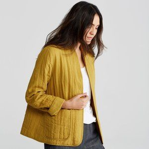 Eileen Fisher High Collar Quilted Jacket - Linen Mustard Seed